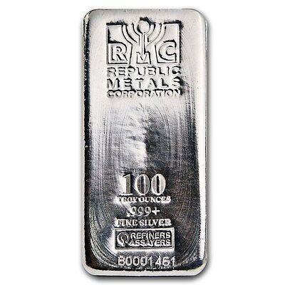 Special Price! 100 oz Silver Republic Metals Corporation Bar .999 Fine RMC