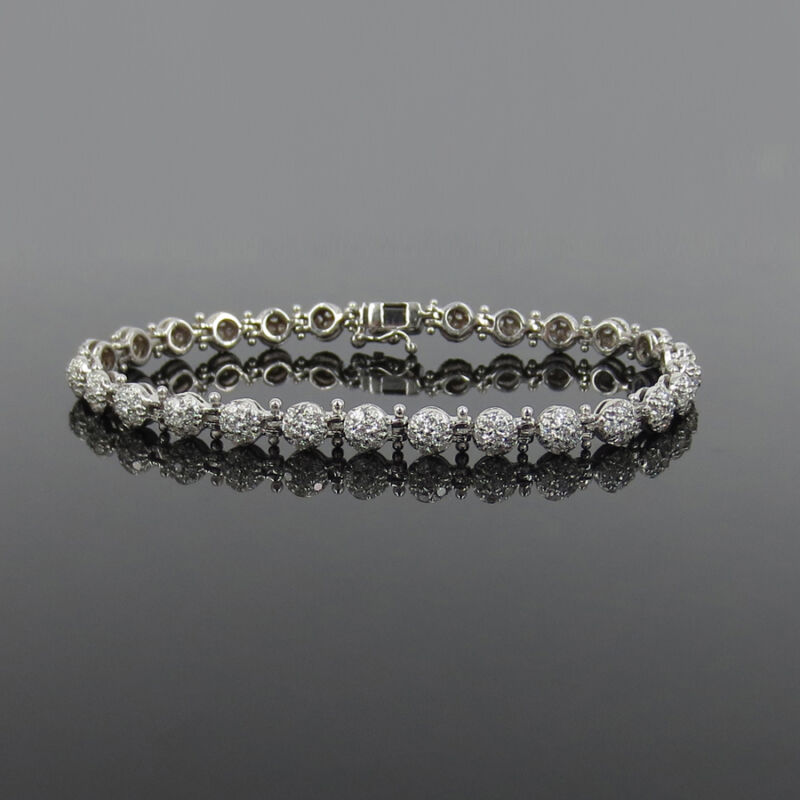 Gerard 4.30ct Fine De/vs Diamond & 18k White Gold Micro Pave Ball Bracelet
