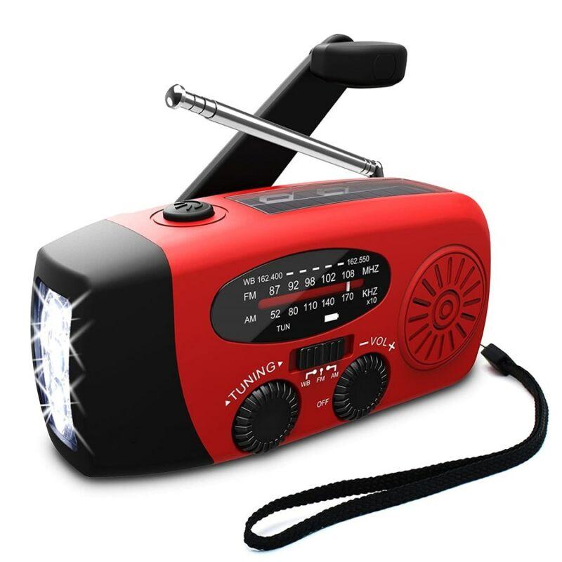3 In 1 Emergency Solar Radio Light Hand Crank AM/FM/WB Flashlight USB Power Bank