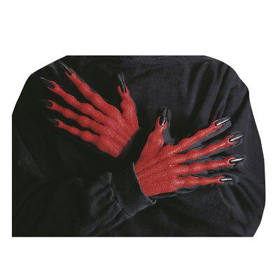 3D ROTE TEUFEL HANDSCHUHE Halloween Teufel Satan Kostüm Verkleidung Zubehör - Rote Teufel Kostüm Zubehör