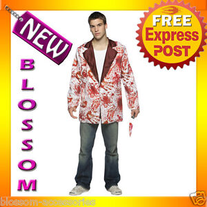 C344-Adult-Mens-White-Bloody-Blazer-Jacket-Tuxedo-Fancy-Dress-Halloween-Costume