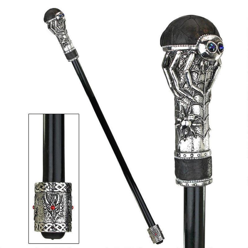 Gothic Creepy Poisonous Spider Knob Handle Ebony Metal Cane Walking Stick
