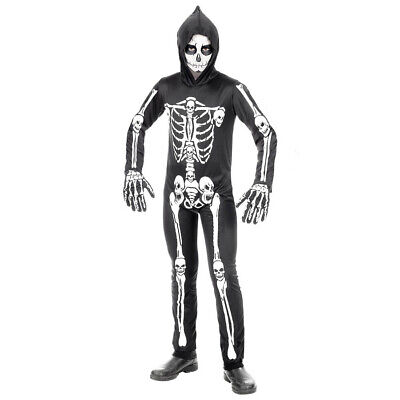 KINDER SKELETT KOSTÜM Halloween Party Karneval Sensenmann Gerippe Jungen # - Jungen Sensenmann Kostüm