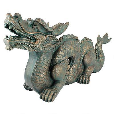 - Asian Far East Chinese Dragon Spiked Tail Garden Sculpture Large Statue