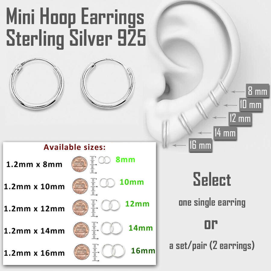 Jewellery - Mini Hoop Earring Sterling Silver 925 8mm 10mm 12mm 14mm 16mm Small Single/Pair