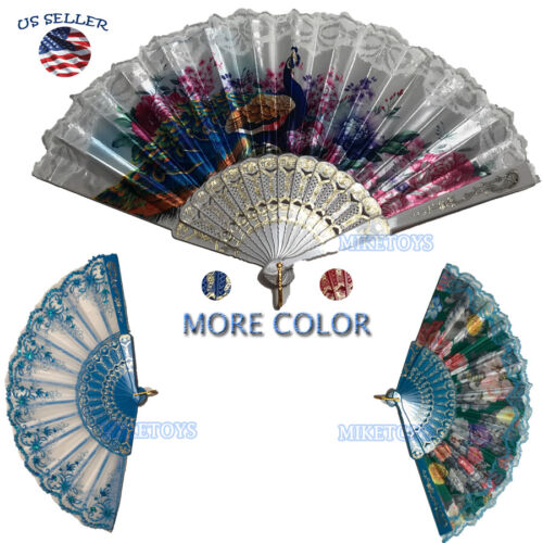 Wedding Party Lace Silk Folding Hand Fan Chinese Style Floral Flower Home Decor1