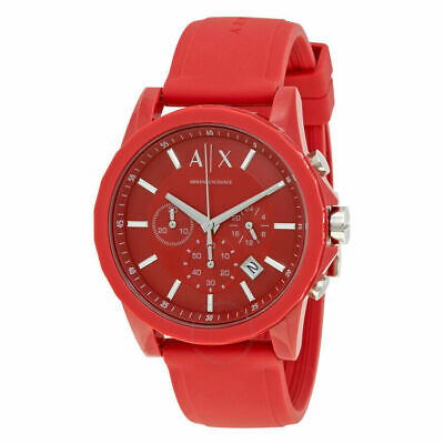 Mens Armani Exchange Watch Red Dial Chronograph Men's Watch AX1328 New