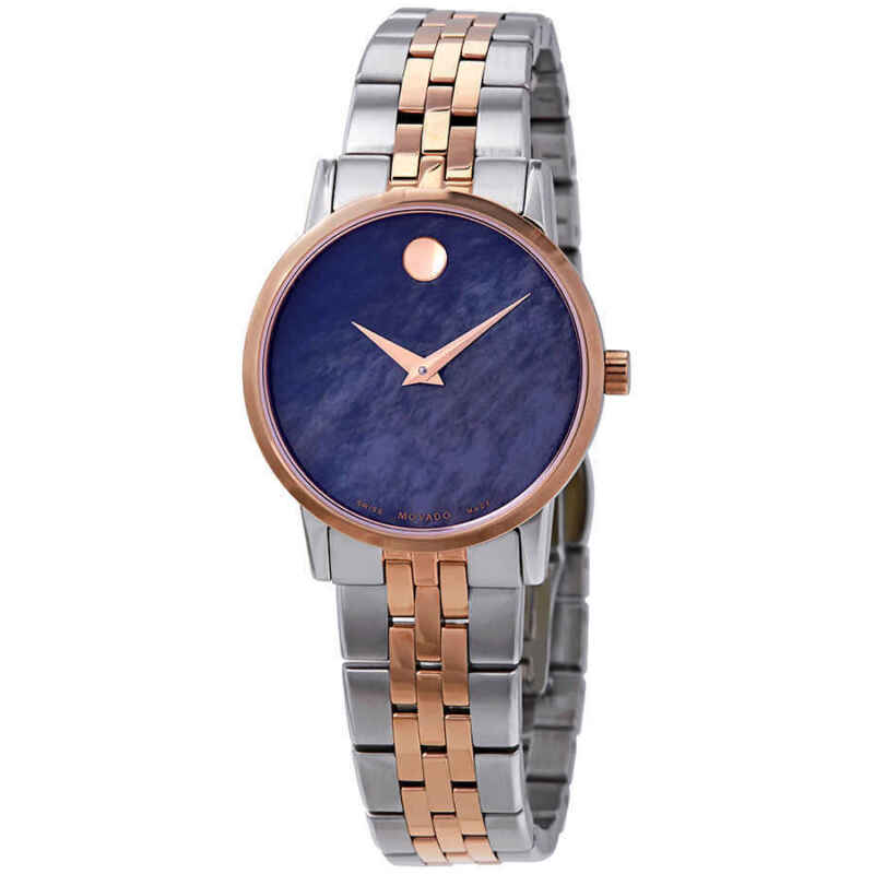 Movado Museum Classic Blue MOP Dial Two-tone Ladies Watch 0607268