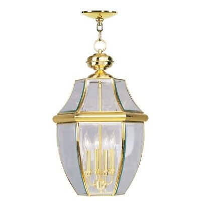 Livex Lighting Monterey Outdoor Chain Hang in Polished Brass - -