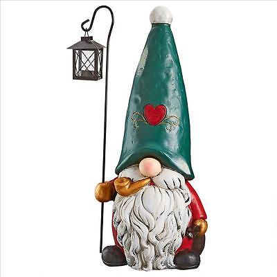 Gnome of the North Pole Santa's Helper Metal Shepherd Hood Lantern Gnome Statue