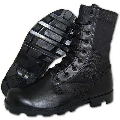 KRAZY SHOE ARTISTS Combat 8 Inch Black Leather Tactical Men's Jungle Boots - Black Combat Boots For Men