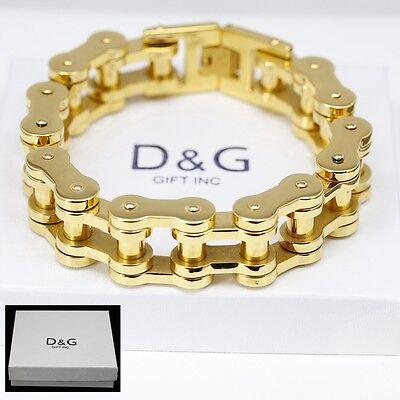 DG Men's 9'' Gold Stainless Steel 12mm Motorcycle Bike Chain Bracelet,+ BOX