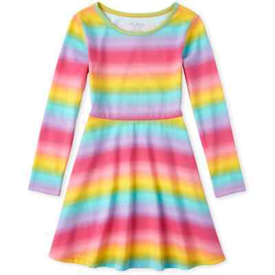 NWT The Childrens Place Girls Rainbow Ombre Long Sleeve Skater Dress