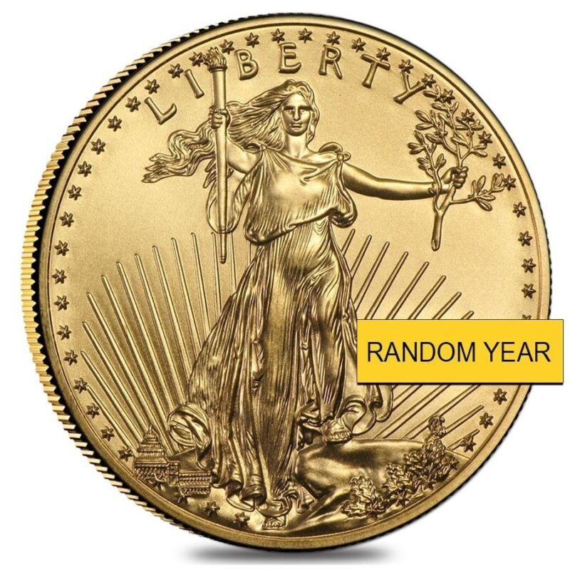 1 Oz Gold American Eagle $50 Coin Bu (random Year)