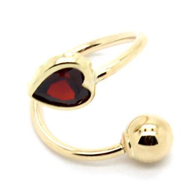 14K Yellow Gold Solitaire Garnet Heart Spiral / Twister Barbell 16 Gauge 7/16