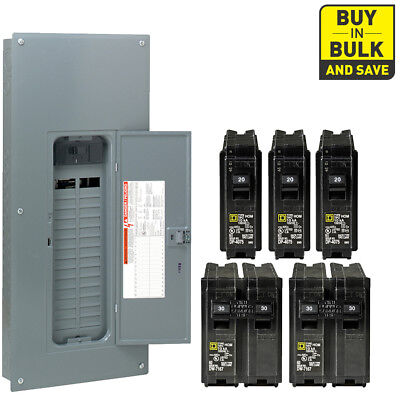 Square-D 200-Amp 30-Space 60-Circuit Indoor Main Panel Box with 5 Breaker Combo