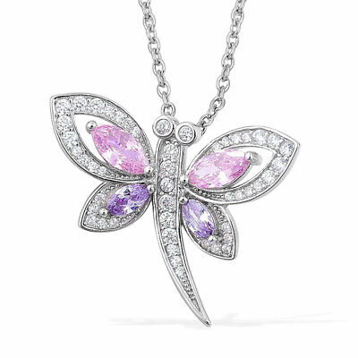 925 Sterling Silver Pink Cubic Zircon Pendant Necklace Jewelry Size 20'' Ct 2