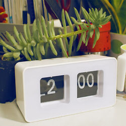 New Classic Stylish Modern Retro Auto Flip Clock Desk Wall Clock White