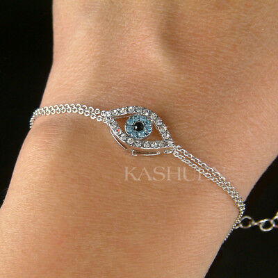 Baby Blue Evil Eye  Made With Swarovski Crystal Amulet Nazar Religious Bracelet