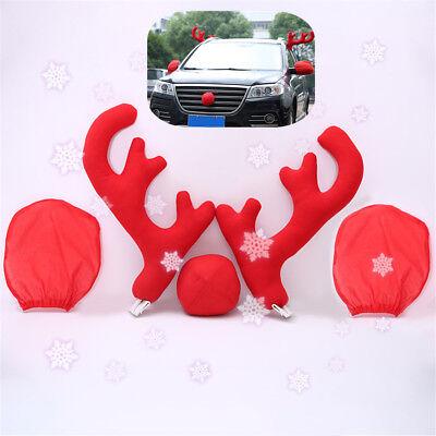 Rot Rentier Auto Weihnachtskostüm Hirschgeweih Nase & Spiegel Kappe Dekoration