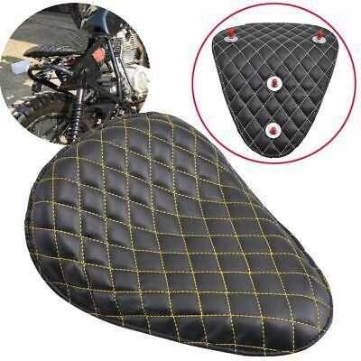 1xUniversal Black W/Yellow Line SOLO Driver Seat Pad For Bobber Chopper Custom