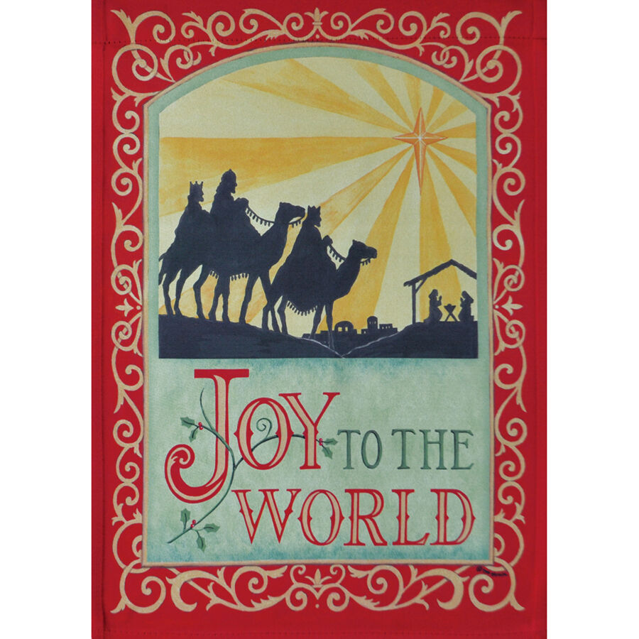 "JOY TO THE WORLD 12.5"" X 18"" GARDEN FLAG 27-2691-50 RAIN OR"