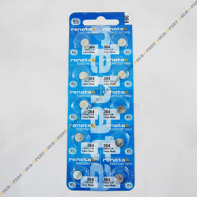 BRAND NEW 10 PCS RENATA SR621SW 364 BUTTON COIN CELL WATCH BATTERIES VALUE PACK
