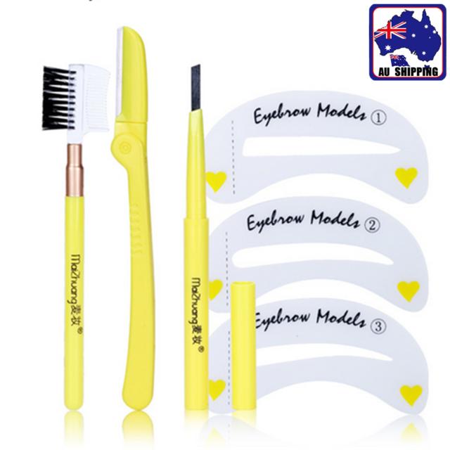 Brow Trimming Kit Pencil Razor Brush Stencil Style Eyebrow Shaping Set JLAS59904