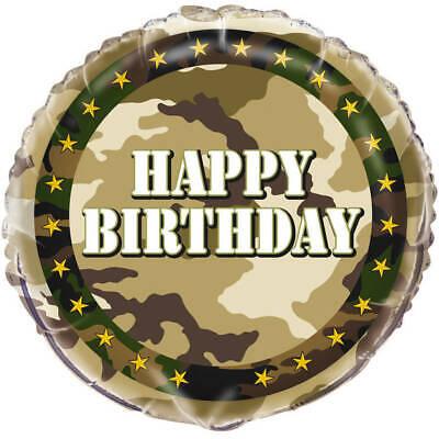 Camouflage Round HAPPY BIRTHDAY Camo Military Army Party - Camo Happy Birthday