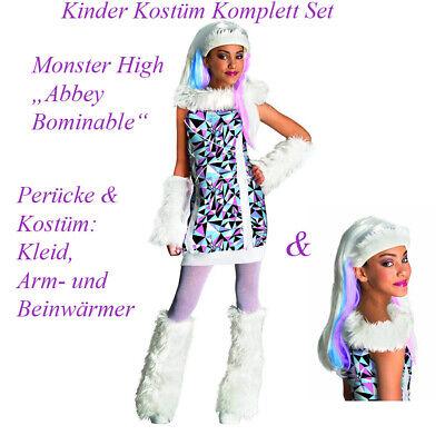 MONSTER HIGH ABBEY BOMINABLE KOSTÜM PERÜCKE KINDER Fasching Karneval Kleid Party
