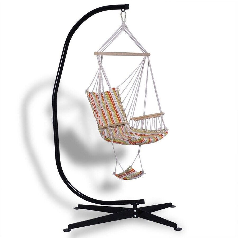 Hammock Stand Heavy Duty Steel C-Shaped Frame For Patio Hang