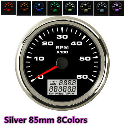 85MM Silver 8Color Backlight Car Truck Boat Tachometer 6000 RPM GUAGE METER USA