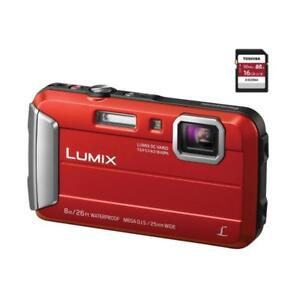 Lumix DMC-TS30 Digital Camera (Red) + 16GB MEMORY CARD
