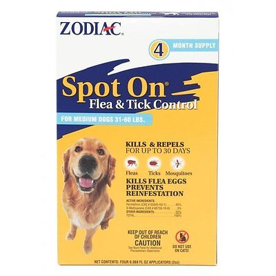 Zodiac Spot On,Medium for dogs 31-60 lbs, flea and tick control, 4 pack