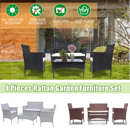 Garden Furniture - Rattan Garden Furniture Set 4Pieces Sofa Patio Outdoor Hotel Table Wicker Chairs