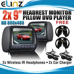 Headrest-2-X-9-HD-Car-Monitor-Pillow-2-DVD-Player-GAME