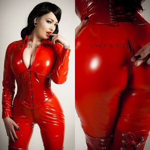 Vawn-and-Boon-Premium-Red-PVC-Catsuit-Size-6-8-10-12-14-16-XS-S-M-L-XL-XXL