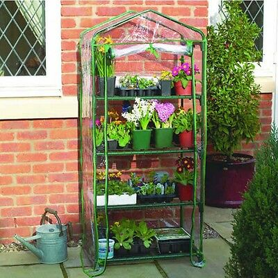 Gardman 4 Tier Growhouse Mini Outdoor Garden Plant Greenhouse with PVC Cover