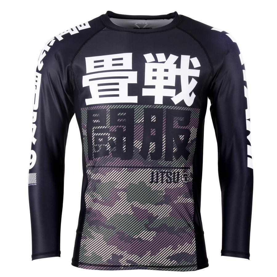 Tatami Red Bar Camo Long Sleeve BJJ Rash Guard MMA Compression Top No-Gi Rash