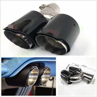 Car SUV Right Side Glossy Black Carbon Fiber 76-101mm Exhaust Dual Pipe Muffler