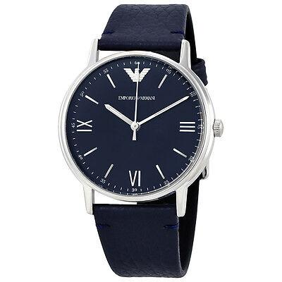 Armani Blue Dial Mens Blue Leather Watch AR11012