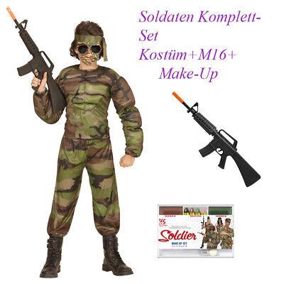 Armee Kinder Kostüme (SOLDAT KOSTÜM SET KINDER Karneval Fasching Armee Jungen M16 Gewehr Make Up # So1)