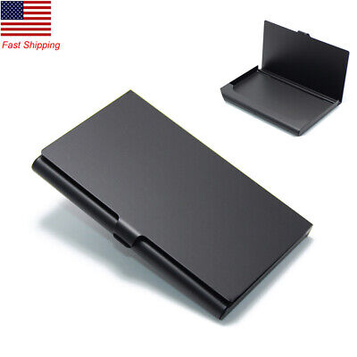 Mini Pocket Business Card Holder Steel Metal Name Box Id Card Case Wallet Black