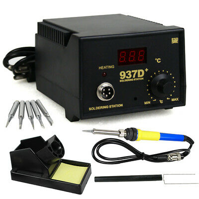 937d Smd Soldering Hot Iron Station Digital Adjustable W 5 Tips Japan Heater