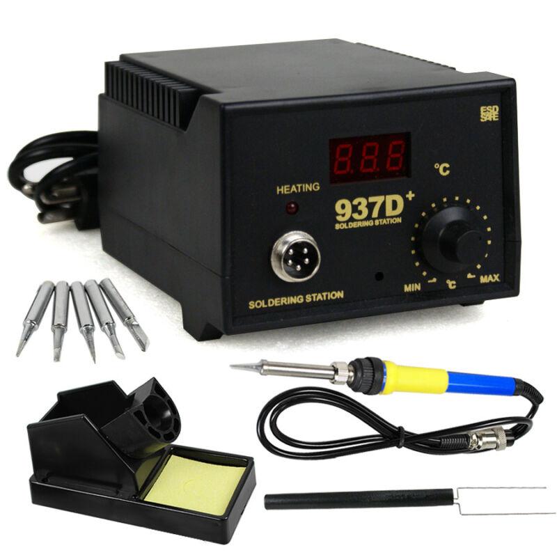 937D+ SMD Soldering Hot Iron Station Digital Adjustable w/ 5 Tips & Japan Heater