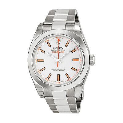 Rolex Milgauss White Index Dial Domed Bezel Oyster Bracelet Mens Watch 116400WSO