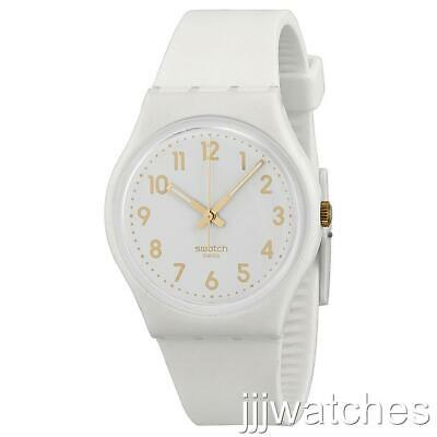 New Swiss Swatch Originals White Bishop Silicone Band Classic Watch 34mm GW164