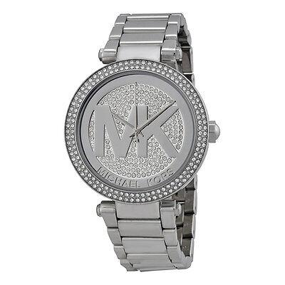 Michael Kors MK5925 Parker Silver Big Logo Glitz Women's Watch