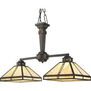 Mission style double chandelier
