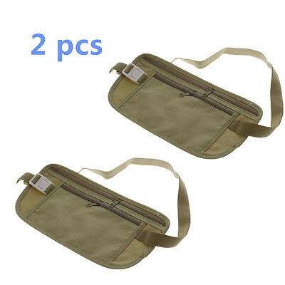 2 pcs Travel Pouch Hidden Compact Security Money Passport ID Waist Belt Bag AS